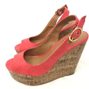 SODA Wedges Cork Suede Salmon Color Size 8